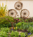 Rural garden decorated with cart wheels three old wooden fastened to wall by rusting iron plow or plough among the flowers and Royalty Free Stock Photos