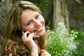 Rural girl / mobile telephone Stock Image