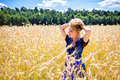 Rural girl wearing german tracht young bavarian woman on the field dirndl Stock Photography
