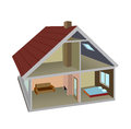 Rural home isometric section of the Stock Images