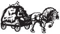 Rural horse drawn cart with hay black and white illustration Stock Photo