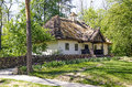Rural house ancient traditional ukrainian with a straw roof Royalty Free Stock Photography