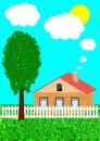 The rural house and tree Royalty Free Stock Photography