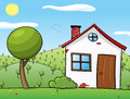 Rural house vector illustration of a and its surroundings Royalty Free Stock Images