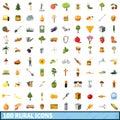 100 rural icons set, cartoon style