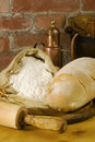 Title: Rural kitchen with bread and flour