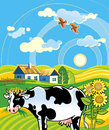 Rural landscape with cheerful cow vector illustration summer village funny and houses Royalty Free Stock Photography