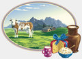 Rural landscape and dairy foodstuff vector with a cow with foods high attention to detail Stock Photography