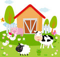 Rural landscape with farm animals. Royalty Free Stock Photos