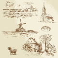 Rural landscape farm hand drawn illustration Royalty Free Stock Photos