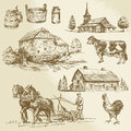 Rural landscape farm hand drawn watermill collection Royalty Free Stock Images