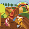 Rural landscape and farmers color illustration Royalty Free Stock Photo
