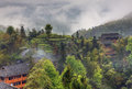 Title: Rural landscape in the highlands of China, farmhouses ethnic vil