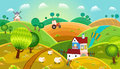 Rural landscape with hills house mill and tractor Royalty Free Stock Photos