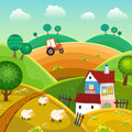 Rural landscape with hills house and tractor Stock Photos