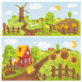 Rural landscape landscapes with sunflowers and windmill Stock Image