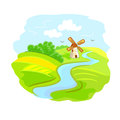 Rural landscape with mill illustration Stock Photography