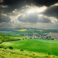 Rural landscape with small village Royalty Free Stock Photo