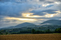 Rural landscape on south of france during sunrise with beautiful clouds Stock Photography