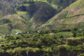 Rural landscape in tungurahua province ecuador hillside with houses orchards and trees along the road between ambato and banos Stock Photography