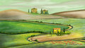 Rural landscape in tuscany italy digital painting Royalty Free Stock Photos
