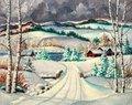 Rural Landscape In Winter Oil Painting