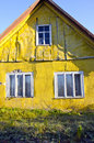 Rural living homestead yellow wall house window Stock Images