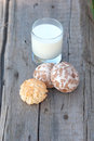 Rural milky and sweet baked milk on the wood old board Royalty Free Stock Image
