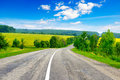 Rural paved road among fields Royalty Free Stock Photo