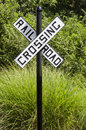 Rural rail road crossing sign Royalty Free Stock Photo