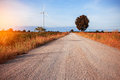 Rural road in fields. Royalty Free Stock Photo