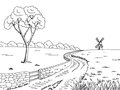 Rural road graphic black white landscape sketch illustration