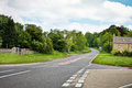 Rural road junction at a in northumberland uk Stock Image