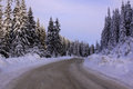 Rural road in the mountains in winter Royalty Free Stock Photo