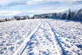 Rural road in snow. Royalty Free Stock Photography