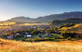 Rural scene in slovakia tatras village zuberec Royalty Free Stock Image