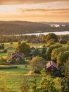 Rural sunset view at the swedish coutry side during golden hour Royalty Free Stock Photo