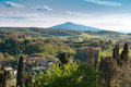 Rural tuscany ws italy landscapes wine vineyards olive groves green and blue Royalty Free Stock Photography