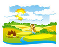 Rural view with windmill Royalty Free Stock Photo