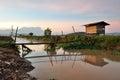 Rural village in sabah borneo with mount kinabalu kota belud Royalty Free Stock Photography