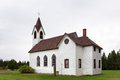 Rural white church in the country american midwest countryside Royalty Free Stock Photos
