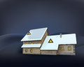 Rural winter wooden cottage side perspective at night Royalty Free Stock Photo