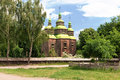 Rural wooden church in the ukrainian village Royalty Free Stock Images