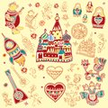 A set of isolated cute bright design elements of Russian traditional symbols
