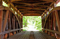 Rush creek covered bridge interior close up of indiana Royalty Free Stock Photo