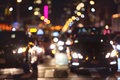 Rush hour car traffic on the night street in New York City Royalty Free Stock Photo