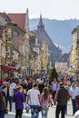 Rush hour dowtown brasov romania unidentified people walk in along crowded republic street on march in the th largest and the most Royalty Free Stock Photos