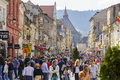 Rush hour dowtown brasov romania unidentified people walk in along crowded republic street on march in the th largest and the most Royalty Free Stock Photo