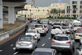 Rush hour in dubai united arab emirates february traffic on highway leading to the city center during all highways and main roads Stock Image