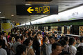 Rush hour in Shanghai Metro Stock Photos